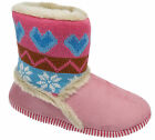 Womens Ladies Boot Slippers / Pink Fluffy Warm Lined Heart Slip On Coolers