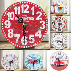 Antique Vintage Wooden Wall Clock Rustic Round Clocks Kitchen Home Office Decor
