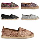 WOMENS LADIES FLAT SHOES ESPADRILLES CASUAL HOLIDAY COMFORT GLITTER PUMPS SIZE