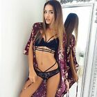 New Floral Sheer Lined Lace Triangle Bralette Bra Bustier Unpadded Mesh Crop Top