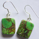 925 STERLING SOLID SILVER INCOMPARABLE GREEN COPPER TURQUOISE EARRING 14-ri300
