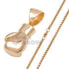 "7P44 20-30""Men Stainless Steel Gold Big Boxing Glove Pendant Box Chain Necklace"