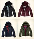 Hollister Ladies Black Navy Burgundy All Weather Jacket Fleece Hooded Coat S M L