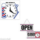 "Barber Shop Sign ""Will Return At"" or Doubled Sided ""Open/Closed"" Sign with Clock"