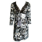 V-Neck Floral Print Stretch  Embroider Detail Empire Waist Dress In Size 14, 18