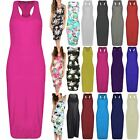 Womens Ladies Sleeveless Stretchy Long Plain Muscle Racer Back Midi Vest Dress