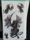 MENS BOYS BLACK ARTY LARGE FLYING DRAGON DESIGN TEMPORARY TATTOOS 20x10cm UKSELL