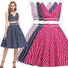 New Sexy Women Two Piece Vintage Dress Crop Top Swing Skirt Party Summer Pinup