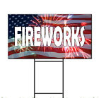 Fireworks Flag Corrugated Plastic Yard Sign /FREE Stakes