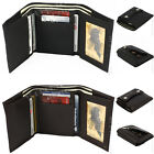 New Men's Genuine Cow Leather Triford wallet with Clutch/Snap Closure Black Brw