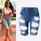 Womens Ladies Vintage High Waist Stretch Ripped Hole Denim Jeans Shorts Hotpants
