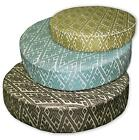 HC Lt Olive Turquoise Blue Beige Dk Olive Diamond 3D Round Seat Cushion Cover