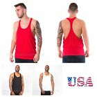 Men Bodybuilding Tank Top Muscle T-Shirt Racerback Gym Fitness Made in USA Black image