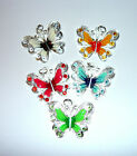 beautiful enamelled and diamante butterfly necklace in choice of colours