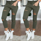 Womens Ladies Stretch Faded Ripped Slim Fit Skinny Denim Jeans Size UK 6 8 12 14