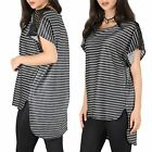 Ladies Summer Hi Lo Batwing Net Shoulder Womens Oversized Baggy T Shirt Dress