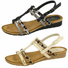 LADIES BLACK OR BEIGE T BAR SANDALS WITH LEOPARD PRINT DETAIL - F10429 CC