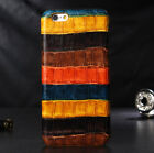 Genuine Real Cowhide Leather Crocodile Stripe Cover Case For iPhone 6 6S Plus