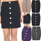 Ladies Bodycon Middle Buttons Stretchy Micro Mini Skirt Elasticated Short