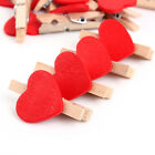 50Pcs Wooden Mini Clip Wood Pegs Kid Crafts Party Favor Supply Heart