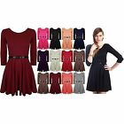 Womens Belted 3/4 Short Sleeves Flared Party Mini Franki Top Ladies Skater Dress