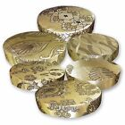 HC Light Bronze Gold Deep Brown Damask Jacquard 3D Round Seat Cushion Cover