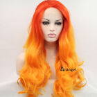 Red Orange Synthetic Ombre Lace Front Wig Heat Resistant Long Wavy Two Tone Hair