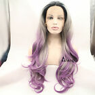 3 Tones Gray Ombre Purple Synthetic Lace Front Wig Long Wavy Dark Roots Hair
