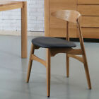 Helga Solid Oak Dining Chair - Black Leather Seat - Danish Mid Century Design