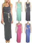 Striped Racerback Scoop Neck Sleeveless Tank Maxi Dress With Tassel Belt S M L