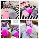 Luxury Bling Gliter Bowknot Fluffy Rabbit Fur Ball Hard Case Cover For iPhone