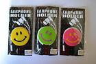 BNIP Earphone EarBud Holder Smiley Face  **Choice Of Colour**