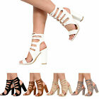 NEW WOMENS LADIES CUT OUT HIGH BLOCK HEEL LACE UP STRAPPY SANDALS SHOES SIZE 3-8
