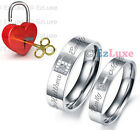 PERSONALIZED ENGRAVED Lock & Key Couple Ring Set Korea Forever Love Heart NAME