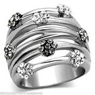 Flower Cluster Ring Stainless Steel Silver Geometric Open Band