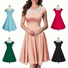 Women Vintage Swing Retro Evening Housewife Party Cotton Lace Doll Collar Dress