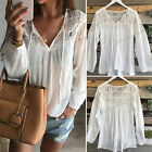 Fashion Women's White Lace Sexy Tops Long Sleeve Casual Blouse Loose T-shirt