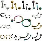 Stainless Steel Ball Curved Body Jewelry Lip Nose Ear Eyebrow Navel Piercing 1Pc