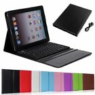Wireless Bluetooth Keyboard w/ Stand PU Leather Case Cover For Apple iPad 4 3 2