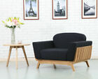 Noah Timber Armchair - Solid Oak - Dark Navy Fabric + Wood