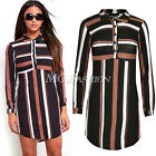 Womens Collared Front Button Stripes Party Casual Mini Dress Blouse T-Shirt Top