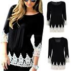 Vogue Women Casual Long Sleeve Blouse Summer Floral Loose Tops T-shirt S-XL