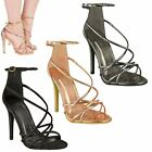 NEW WOMENS LADIES HIGH HEEL BARELY THERE ANKLE STRAPPY PARTY SANDALS SHOES SIZE
