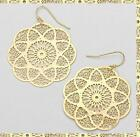 Long 2* Earrings Filigree Drop Metal Flower Carved Design Lotus Style