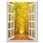 Pathway Autumn Park Picture 3D French Window Canvas Print Gifts Home Décor Wall