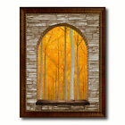 Trees Autumn Picture 3D Arch Window Canvas Print Home Décor Wall Art