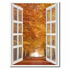 Sand Lane Autumn Picture 3D French Window Canvas Print Gifts Home Décor Wall Fra