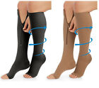 23-32mmHg Compression Knee Socks Zippered Supports Stockings Leg Open Toe Zipper