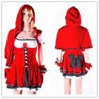 Women Ladies Little Red Riding Hood Costume Halloween Fancy Cosplay Party Dress