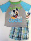Disney 4T Mickey Mouse 2-Piece Tee and Plaid Shorts Set Toddler Boys Clothing